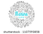 marine ocean creatures cartoon... | Shutterstock .eps vector #1107593858