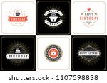 happy birthday cards design set ... | Shutterstock .eps vector #1107598838