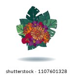 tropical bouquet  hand drawing  ... | Shutterstock .eps vector #1107601328