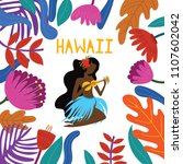 aloha hawaii card with hawaiian ... | Shutterstock .eps vector #1107602042