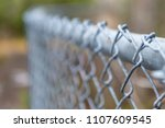 a curved chain link fence.  the ... | Shutterstock . vector #1107609545
