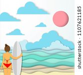 sexy lady and wave board  red... | Shutterstock .eps vector #1107621185