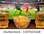 two glass of cold beer and... | Shutterstock . vector #1107623168