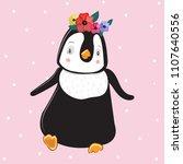 cute funny penguin. scrawl.... | Shutterstock .eps vector #1107640556