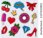 vector set of cute colored... | Shutterstock .eps vector #1107652802