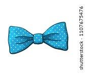 vector illustration. blue bow... | Shutterstock .eps vector #1107675476