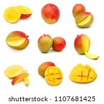 mango fruit isolated on white... | Shutterstock . vector #1107681425