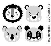 cute vector set lion  panda ... | Shutterstock .eps vector #1107686648