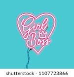 girl boss pink neon sign... | Shutterstock .eps vector #1107723866