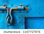 rusty door latch and lock on... | Shutterstock . vector #1107727076
