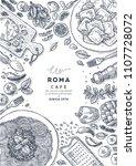 italian pasta top view... | Shutterstock .eps vector #1107728072
