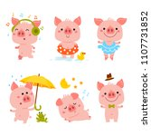 vector pink piggy symbol 2019.... | Shutterstock .eps vector #1107731852