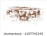 cows in the pasture | Shutterstock .eps vector #1107742142