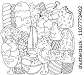 coloring book page. set of... | Shutterstock .eps vector #1107773402