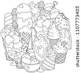coloring book page. set of... | Shutterstock .eps vector #1107773405