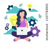 creative woman thinking about... | Shutterstock .eps vector #1107783002