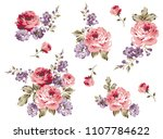 bouquet roses pattern isolated... | Shutterstock .eps vector #1107784622