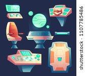 vector set of spaceship design... | Shutterstock .eps vector #1107785486
