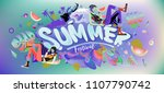vector colorful summer banner.... | Shutterstock .eps vector #1107790742