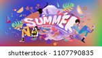 vector colorful summer banner.... | Shutterstock .eps vector #1107790835