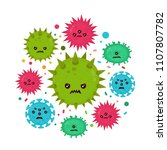 cute angry evil bad fly germ...   Shutterstock . vector #1107807782