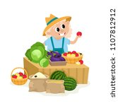 local market farmer selling...   Shutterstock .eps vector #1107812912