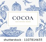 hand drawn cocoa beans card.... | Shutterstock .eps vector #1107814655