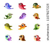 set of vector birds  funny bird ... | Shutterstock .eps vector #1107827225
