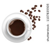 3d realistic cup of coffee on... | Shutterstock .eps vector #1107835505