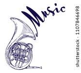 french horn music instrument... | Shutterstock .eps vector #1107846698