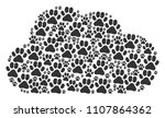 cloud mosaic composed of paw... | Shutterstock .eps vector #1107864362