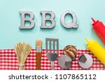 metal bbq sign with grilling... | Shutterstock . vector #1107865112