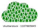 cloud figure built of fir tree... | Shutterstock .eps vector #1107885845