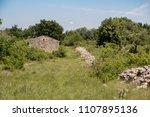 handmade natur stone walls and... | Shutterstock . vector #1107895136