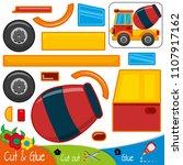 the car is a concrete mixer.... | Shutterstock .eps vector #1107917162