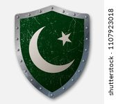 old shield with flag of... | Shutterstock .eps vector #1107923018