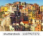 beautiful view of manarola town ... | Shutterstock . vector #1107927272