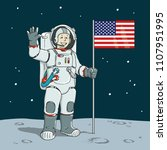 astronaut with american flag... | Shutterstock .eps vector #1107951995