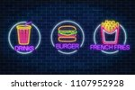 set of three neon glowing signs ... | Shutterstock .eps vector #1107952928