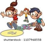 cartoon kids playing hopscotch. ...   Shutterstock .eps vector #1107968558