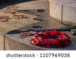 Poppy Wreath At War Memorial.