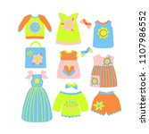 summer kids clothes collection  ... | Shutterstock .eps vector #1107986552