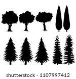 set of black silhouettes trees   Shutterstock .eps vector #1107997412