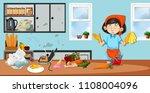 housekeeper in dirty kitchen...   Shutterstock .eps vector #1108004096