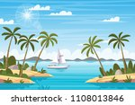 tropical landscape with boat... | Shutterstock .eps vector #1108013846