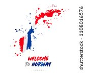 welcome to norway. europe. flag ... | Shutterstock .eps vector #1108016576