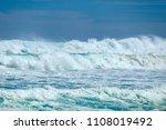 crashing ocean waves on... | Shutterstock . vector #1108019492
