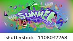 vector colorful summer banner.... | Shutterstock .eps vector #1108042268