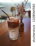 ice cold coffee drink sweet... | Shutterstock . vector #1108064582