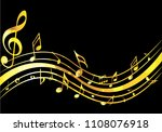 abstract golden music notes on... | Shutterstock .eps vector #1108076918